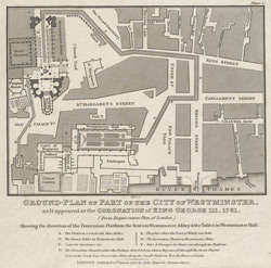 Ground plan of part of the City of Westminster as it appeared at the coronation of King George III, 1761. From Roque's scarce plan of London